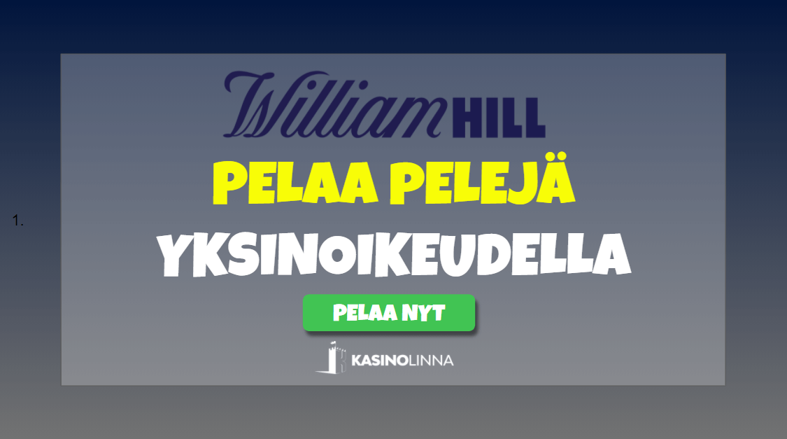 William Hill tarjoaa pelejä uksinoikeudella
